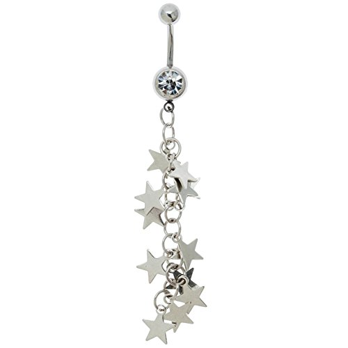 Belly Ring Gauge Star 14 (Belly Button Ring 316L Surgical Steel Navel Piercing Silver Bananabell Barbell 14 Gauge With Long Dangle Pendant, Stars Ornaments Decorations and Transparent Zirconias Crystals)