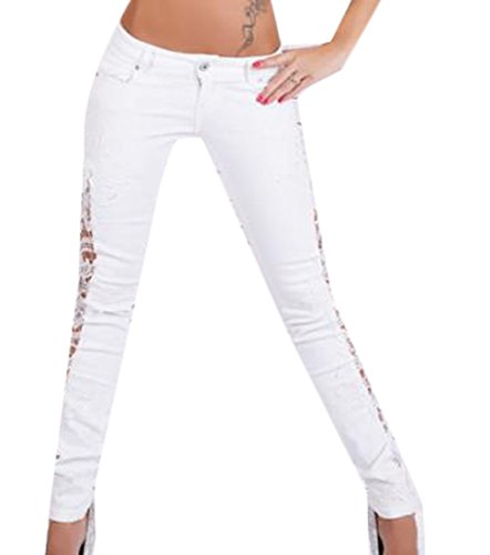 Yayun Yayu Women's Lace Splice Hollow Low Rise Stretch Skinny Jeans White (Lace Low Rise Jeans)
