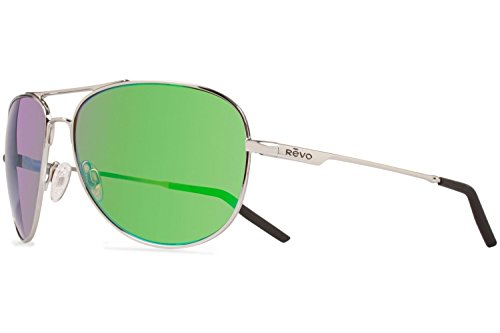 Revo Windspeed RE 3087 Polarized Aviator Sunglasses,Chrome/Green Water,66 mm by Revo