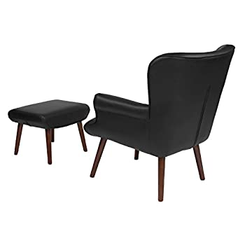 Flash Furniture Bayton Upholstered Wingback Chair with Ottoman in Black Leather