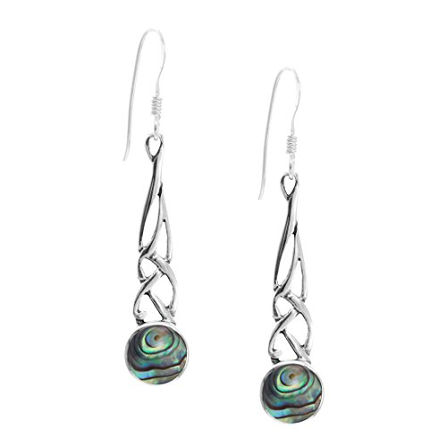 Shell Celtic Knot - Silverly Women's .925 Sterling Silver Abalone Paua Shell Celtic Knot Dangle Earrings