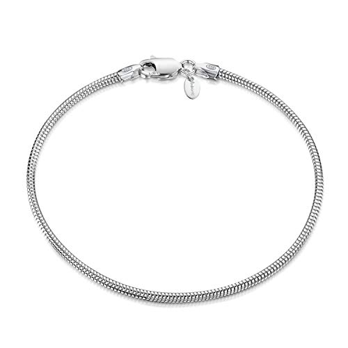 Amberta 925 Sterling Silver 1.9 mm Snake Chain Bracelet Length 8