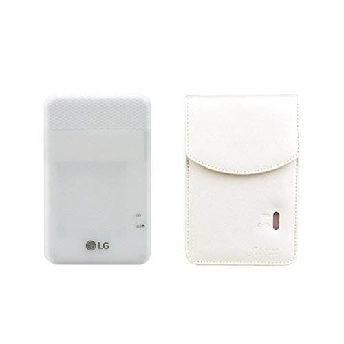 LG PD261 Portable Mobile Pocket Photo Printer [White] + Atout 261 Premium Synthetic Leather Case [White] With Gift USB Cable [International Version] by LG