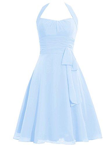Paseo Huini Honor Azul Boda Corto Bowknot Fiesta De Cabestro Vestidos Fajas Dama Cielo gcf4xqgHZw