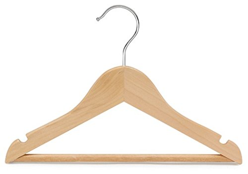 Only Hangers Children's Natural Finish Wood Top Hangers with Bar (Set of 25)