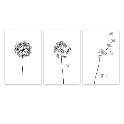 3 Panel Hand Drawn Dandelions in Black and...