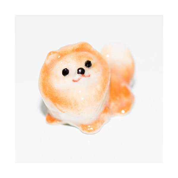 SSJSHOP Pomeranian Micro Tiny Figurines Hand Painted Ceramic Animals Collectible Dog Lover Gift Home Decor, Brown Sit 2