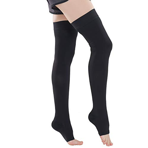 Aaister Medical Open Toe Thigh High Compression Stockings, Graduated Support 20-30 mmHg Firm Hose for Women & Men, Treatment Swelling, Relief Varicose Leg Veins, Pregnancy, Flight