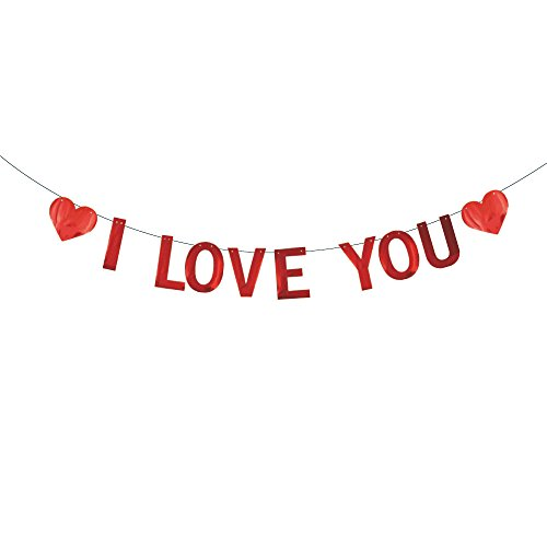 SMILE PARTY I LOVE YOU Banner,Valentine's Day Proposal Birthday Courtship Wedding Anniversary Bridal Party Decorations