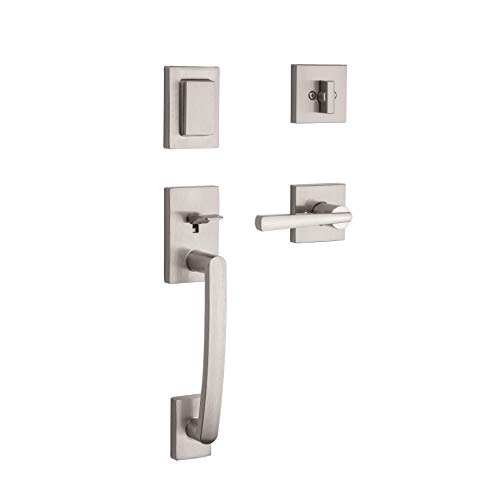 Baldwin Spyglass Single Cylinder Front Door Handleset Featuring SmartKey Security in Satin Nickel, Prestige Series with a Modern Contemporary Slim Door Handleset and Square Lever ()