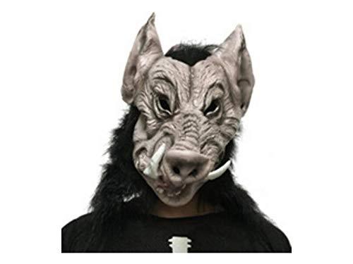 Yyanliii Divertente Spaventoso Latex Cinghiale Testa Cover Tricky Animal Mask Per Halloween Puntelli (Grigio)