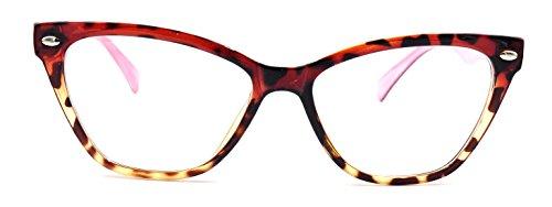 Womens Cat Eye Glasses Clear Lens Eyeglass Frames Tortoise Pink