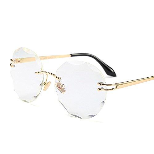 La gold De Uv400 De Calidad Mujer Redondo Claro TIANLIANG04 Reborde Sol Claro Del Con Mujer Oro Sin Metal Gafas Alta De De Gafas clear Sol with qwPgf6P
