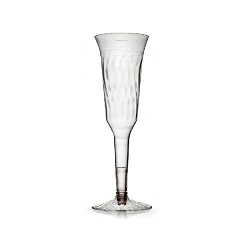 Fineline Settings 2105, 5 Oz. 2-Piece Flairware Clear Plastic Champagne Flutes, Disposable Cold Beverages Champagne Glasses (50) by Fineline settings