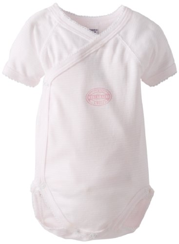 Petit Bateau Baby-Girls Newborn Short Sleeve Crossover Striped Bodysuit, Pink, 6 Months ()