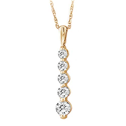 Aienid 1 3 Carat Journey Diamond 14K Yellow Gold Necklace for Women Pendant With Chain. 16 - Diamond Journey Pendant Carat One