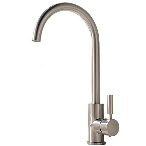 Comllen Best Commercial Brushed Nickel Stainless Steel Single Handle Kitchen Sink Faucet, Hot and Cold Single Lever Kitchen Faucets