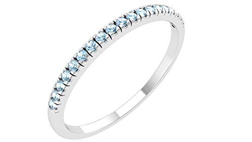 Solid Sterling Silver Delicate & Dainty Band Ring with 19 Swiss Blue Topaz Gemstones for Women