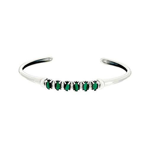 American West Sterling Silver Green Malachite Gemstone 6-Stone Cuff Bracelet Size Medium
