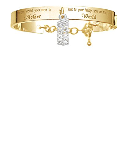 Wonder Woman Gold-tone You Are A Mother Cuff Charm Bracelet (Wonder Woman Cuff Bracelet)