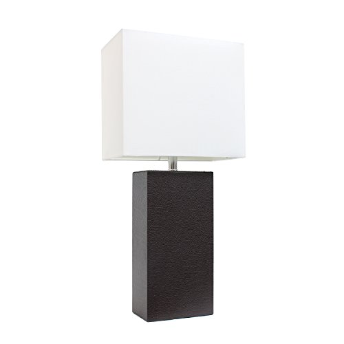 Elegant Designs LT1025-BWN Modern Leather Table Lamp with White Fabric Shade, 3.85