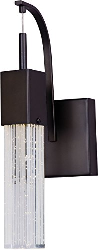 - ET2 E22760-89BZ Fizz III 1-Light LED Wall Sconce, Bronze Finish, Etched/Bubble Glass, PCB LED Bulb, 40.5W Max., Dry Safety Rated, 3000K Color Temp., Electronic Low Voltage (ELV) Dimmable, Shade Material, 1320 Rated Lumens