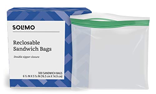 - Amazon Brand - Solimo Sandwich Storage Bags, 300 Count