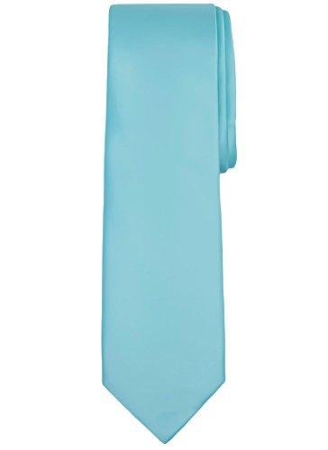 - Jacob Alexander Solid Color Men's Regular Tie - Aqua Blue