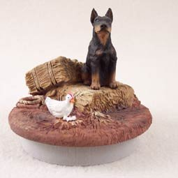 Conversation Concepts Miniature Doberman Pinscher Black w/Cropped Ears Candle Topper Tiny One ''A Day on the Farm''