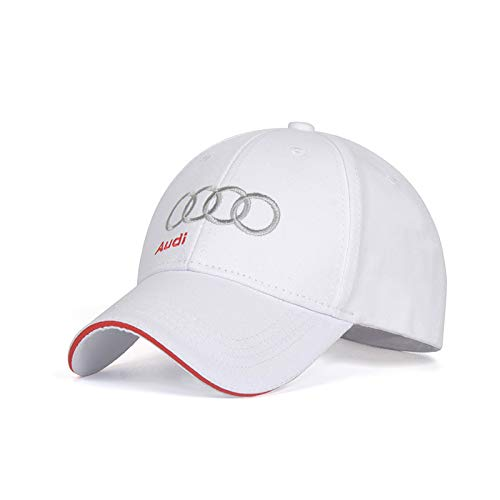 e19b19428 cars Logo Embroidered White Color Adjustable Baseball Caps for Men and  Women Hat Travel Cap Racing Motor Hat (fit Audi)