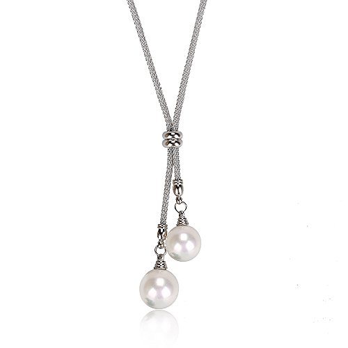Stacey 14mm Double Mother Of Pearl Drop Pendant with Stainless Steel Necklaces (White) ()