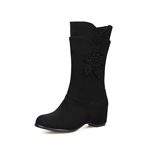 AdeeSu Ladies Ornamented Round Toe Kitten-Heels Black Imitated Suede Boots - 6.5 B(M) US ()