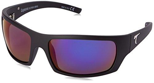 Typhoon Men's Cayucos Polarized Iridium Wrap Sunglasses, Matte Black/Aquaview Meridian Blue, 78 - Polarized Typhoon Sunglasses