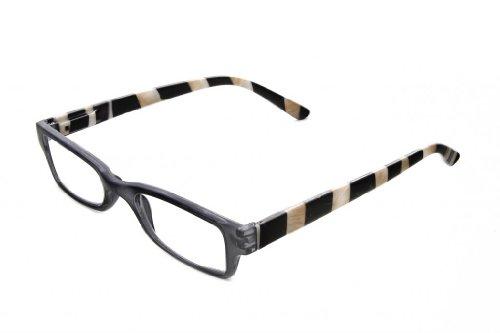 Clear Optix Crystal (Striped Reading Glasses by Hot Optix, Black Crystal Frame/ Clear Lens/ +3.00)