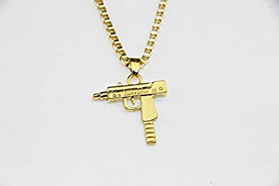 e32f4e39b689 LikeforLoveJewellerys Supreme Uzi Machine Gun Pistol Necklace Pendant Chain  Gold Silver Plated Hip Hop  Amazon.es  Joyería