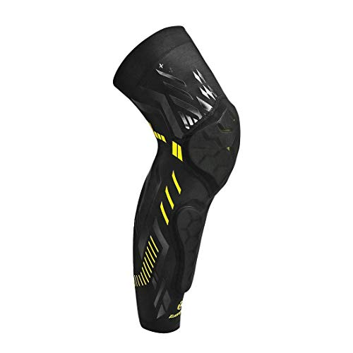 Kuangmi Basketball Knee Pad Protective Knee Brace Compression Leg Sleeve Shin Guard Kneepad (Black-Single, M)