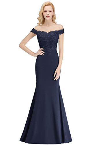 Womens Off Shoulder Appliques Navy Blue Bridesmaid Dresses Long Mermaid Evening Formal Dress,Navy ()