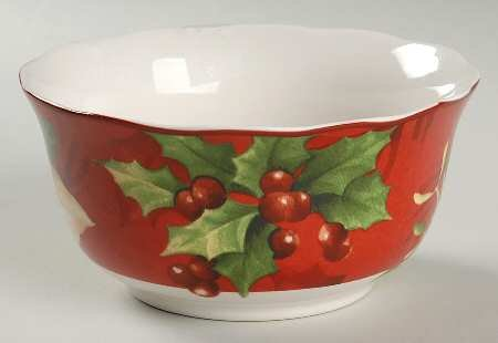 222 Fifth Poinsettia Holly 23.5 Oz Soup / Cereal Bowls - Set of (222 Fifth Poinsettia)