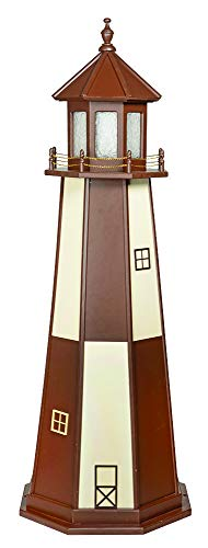 DutchCrafters Decorative Lighthouse - Wood, Cape Henry Style (Brown/Ivory, 6)