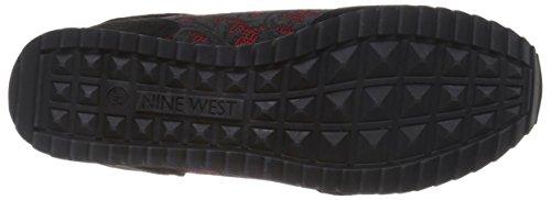 Neuf Ouest Femmes Telly Daim Mode Sneaker Noir / Rouge Multi