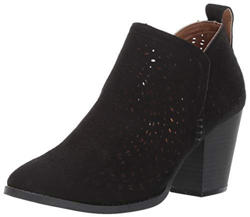Sugar Women's Racer Laser Cutout Pull-On Block Heel Ankle Bootie Boot, Black Oiled Fabric 7 M US
