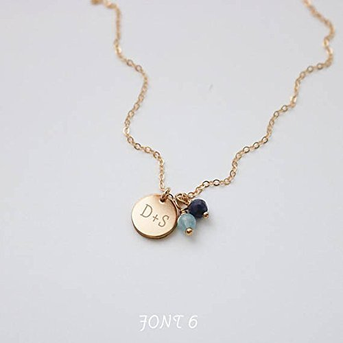 Engraved 9 Millimeter Disc and Gemstone Necklace