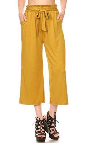 ShoSho Womens Paper Bag Waist Cropped Pants Casual Wide Leg with Pockets Soft Brush Solid Harvest Gold Medium