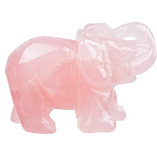 June&Ann Natural Rose Quartz Gemstone Pocket Elephant Statue, Healing Crystal Carved Elephant Sculpture Animal Totem Spirit Stone Figurine for Meditation Home Decoration Collection - 2 ()