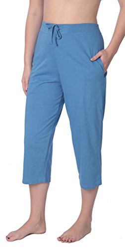 (Beverly Rock Women's Capri Jersey Knit Pajama Lounge Pant Available in Plus Size JLP1_18 Blue 2X)