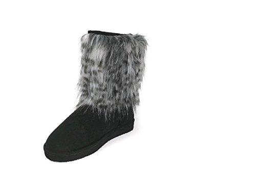 Women's Suede Faux Fur Mid Calf Warm Rain Winter Bootie Snow Boots (8, Black)