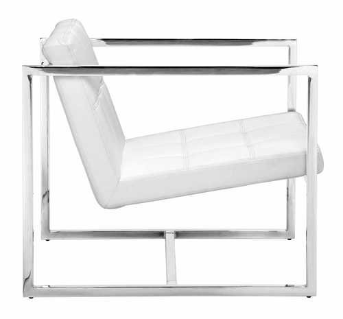 Zuo Modern Carbon Chair White - Chrome Steel Length 25.2 Width 28.3 - living-room-furniture, living-room, accent-chairs - 31aWXNB9G2L -