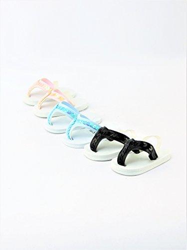 3 Pair Summer Sequins Flip Flops - Black, Light Pink,& Light Blue   Fits 18