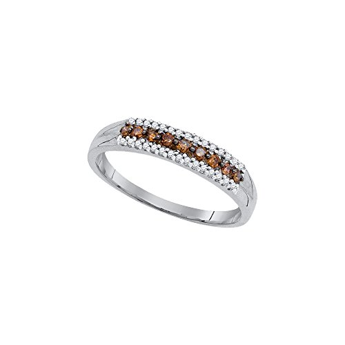 Size - 7 - Solid 10k White Gold Round Chocolate Brown And White Diamond Channel Set Wedding Band OR Fashion Ring (1/5 (Chocolate Wedding Rings)