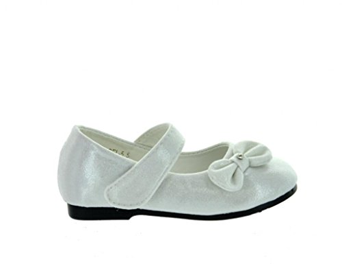 Dream Pairs ANGEL-5 Adorable Mary Jane Side Bow Velcro Strap Ballerina Flat (Toddler/ Little Girl) New White Size 6 (Dress Toddler White Shoes)